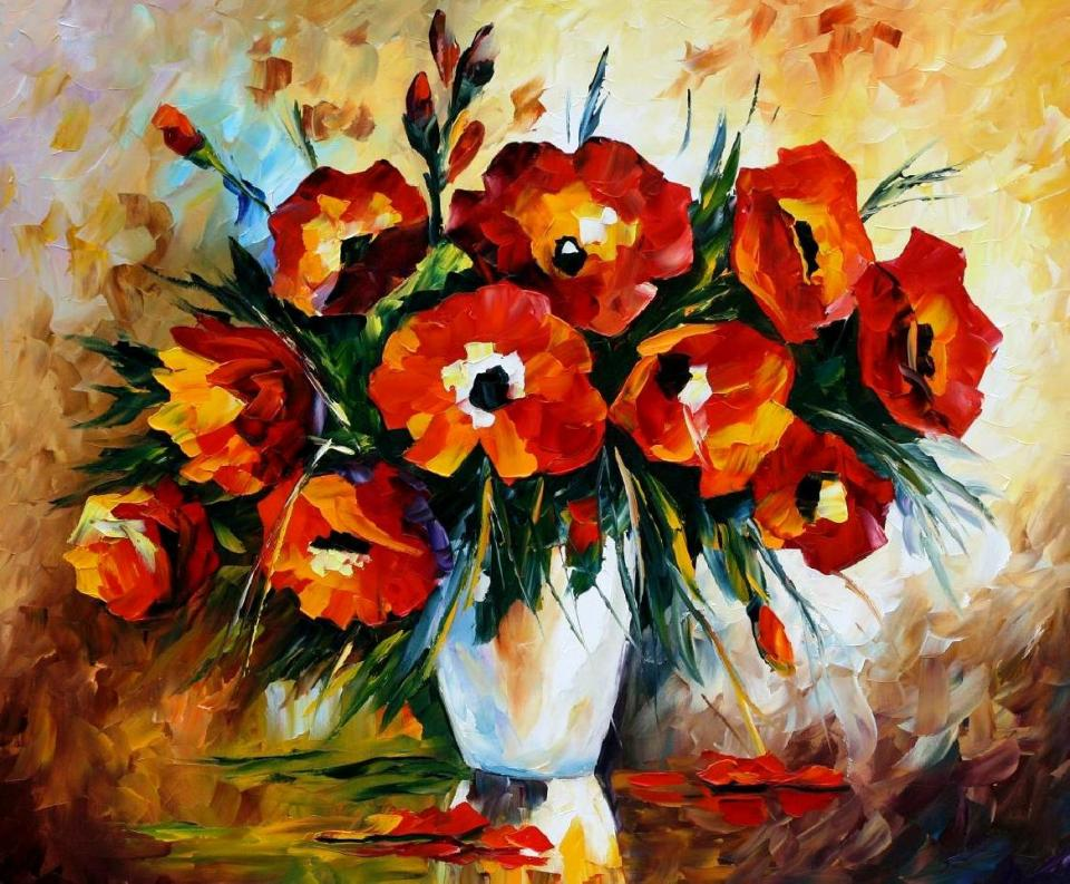 1499  red flowers 30 x 36 - 5