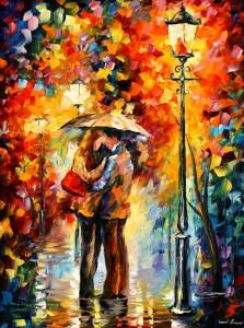 706   40x30  KISS UNDER THE RAIN -  5